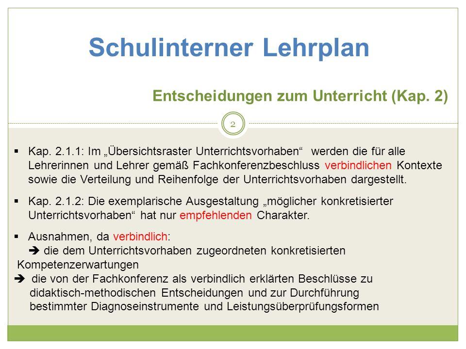 Schulinterner Lehrplan Konkretisierung Unterrichtsvorhaben (Kap.
