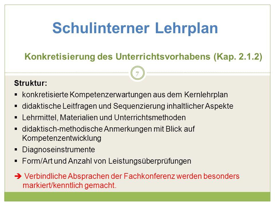 Schulinterner Lehrplan Konkretisierung des Unterrichtsvorhabens (Kap.