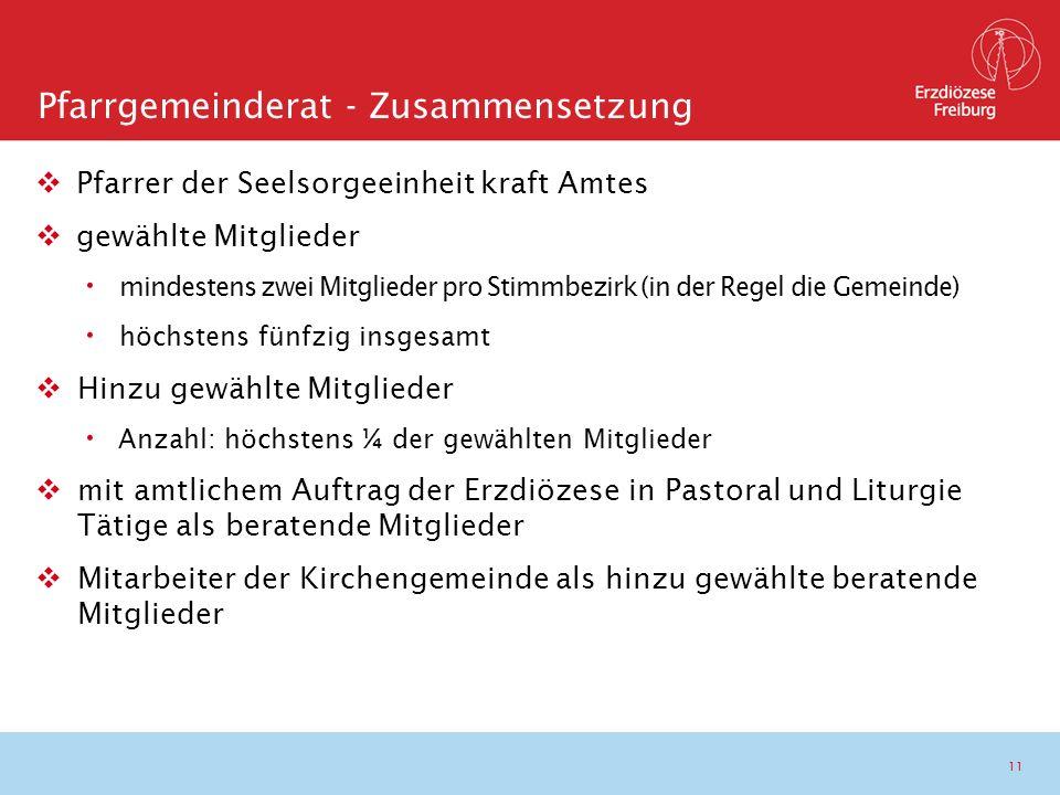 11  Pfarrer der Seelsorgeeinheit kraft Amtes  gewählte Mitglieder mindestens zwei Mitglieder pro Stimmbezirk (in der Regel die Gemeinde) höchstens f
