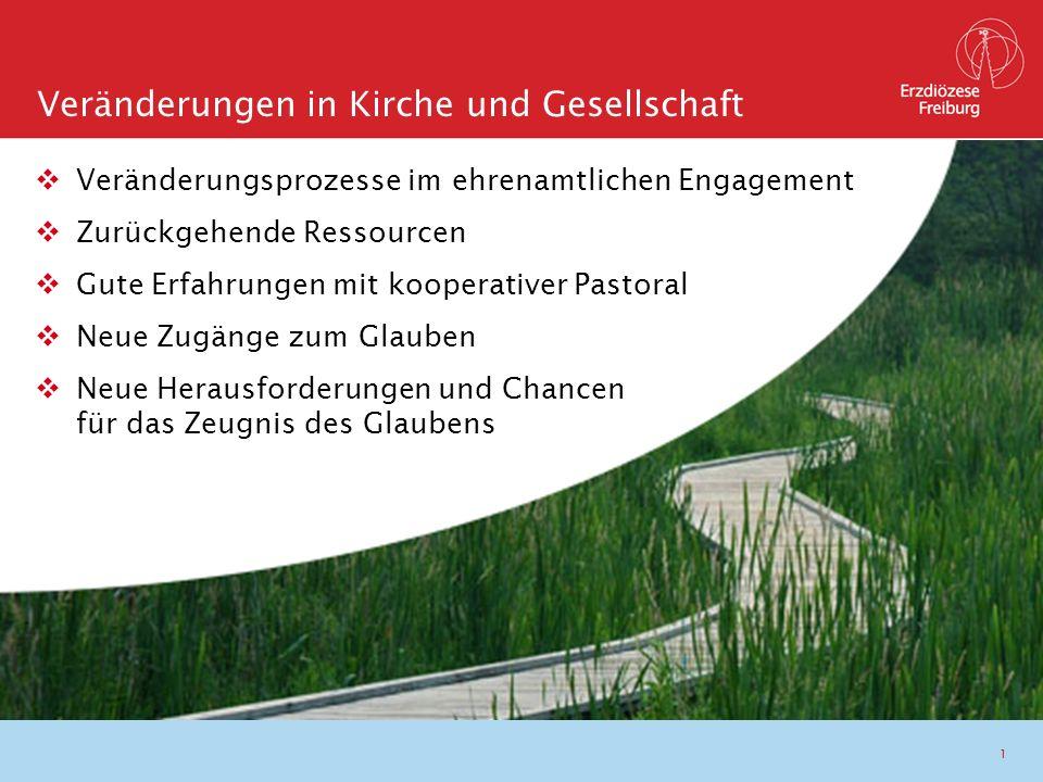 1  Veränderungsprozesse im ehrenamtlichen Engagement  Zurückgehende Ressourcen  Gute Erfahrungen mit kooperativer Pastoral  Neue Zugänge zum Glaub