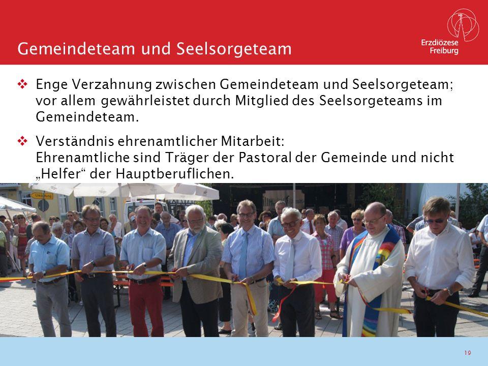 19  Enge Verzahnung zwischen Gemeindeteam und Seelsorgeteam; vor allem gewährleistet durch Mitglied des Seelsorgeteams im Gemeindeteam.