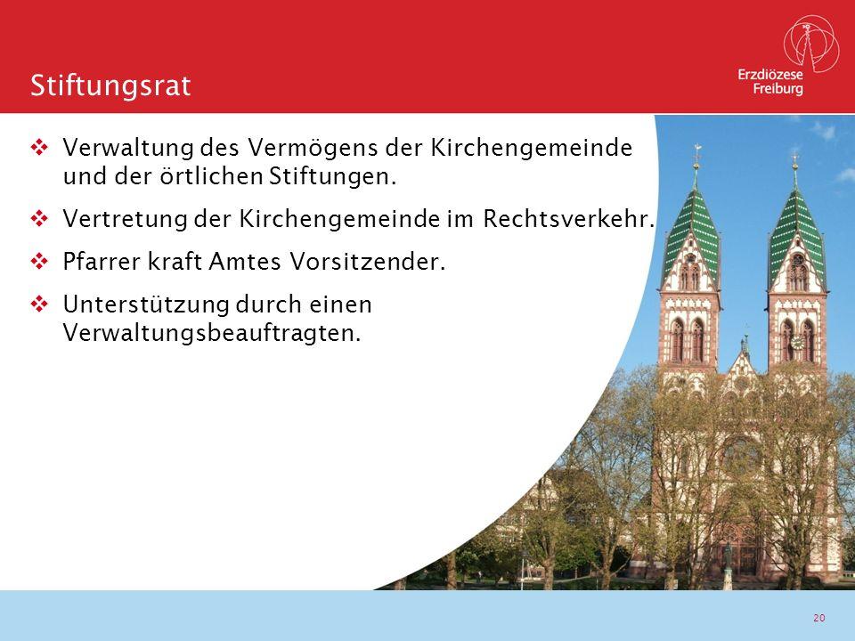 20  Verwaltung des Vermögens der Kirchengemeinde und der örtlichen Stiftungen.