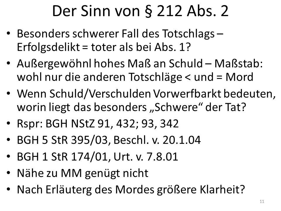 Der Sinn von § 212 Abs.