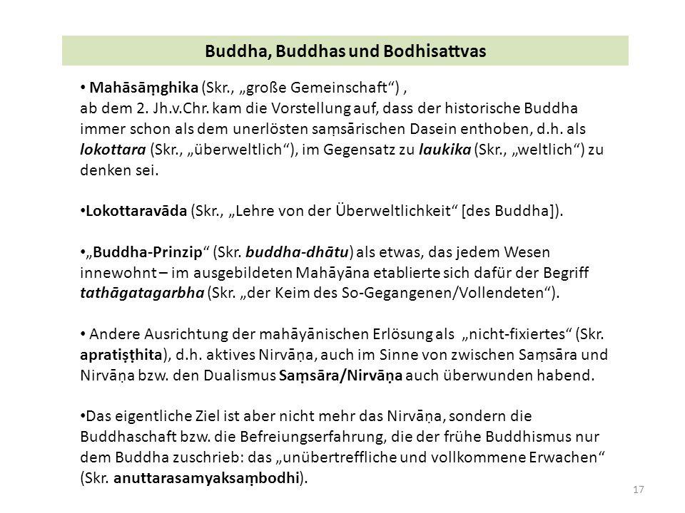 """17 Buddha, Buddhas und Bodhisattvas Mahāsāṃghika (Skr., """"große Gemeinschaft ), ab dem 2."""