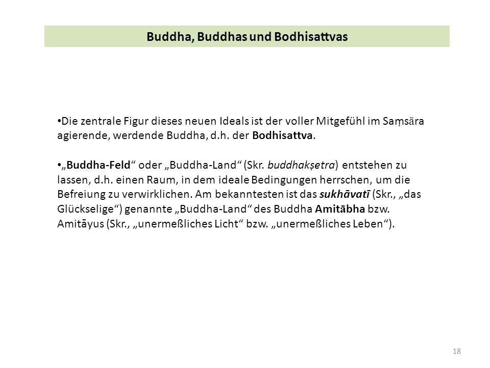 18 Buddha, Buddhas und Bodhisattvas Die zentrale Figur dieses neuen Ideals ist der voller Mitgefühl im Saṃs ā ra agierende, werdende Buddha, d.h.