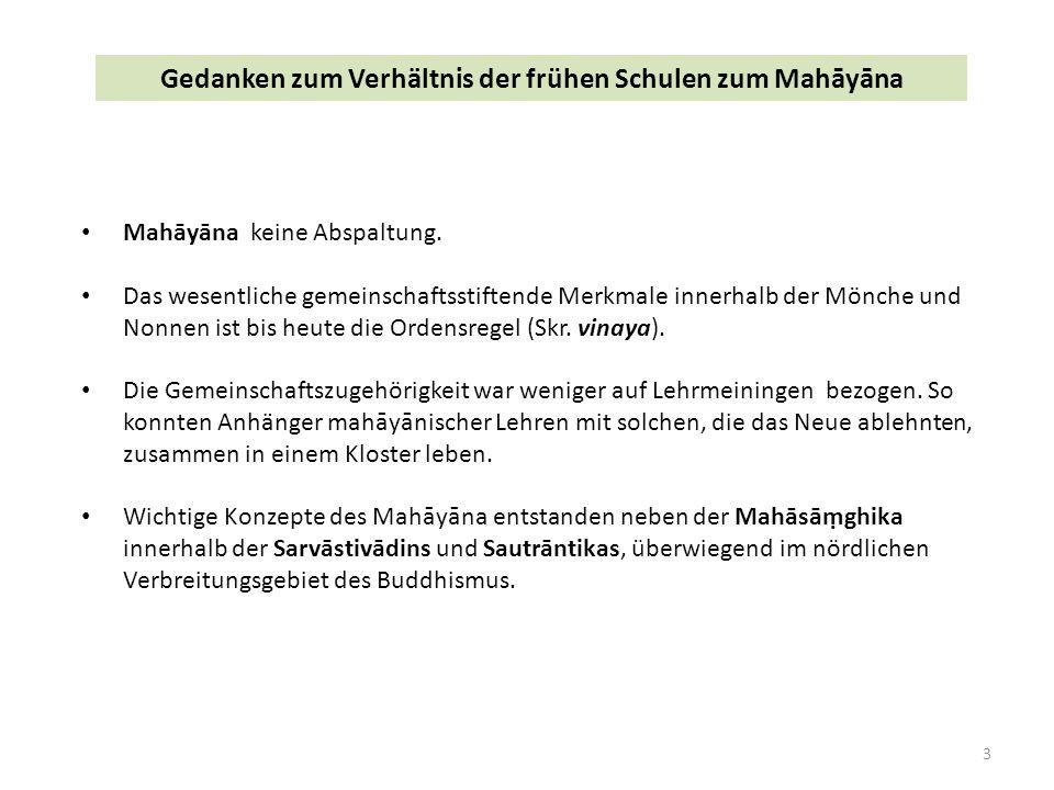 3 Gedanken zum Verhältnis der frühen Schulen zum Mahāyāna Mahāyāna keine Abspaltung.