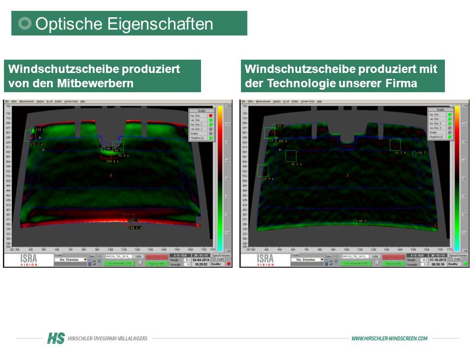 Optische Eigenschaften Windschutzscheibe produziert von den Mitbewerbern Windschutzscheibe produziert mit der Technologie unserer Firma