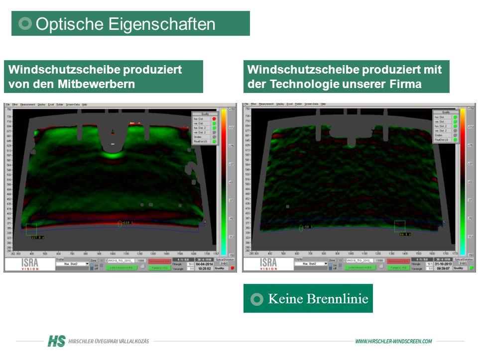 Optische Eigenschaften Windschutzscheibe produziert von den Mitbewerbern Windschutzscheibe produziert mit der Technologie unserer Firma Keine Brennlinie