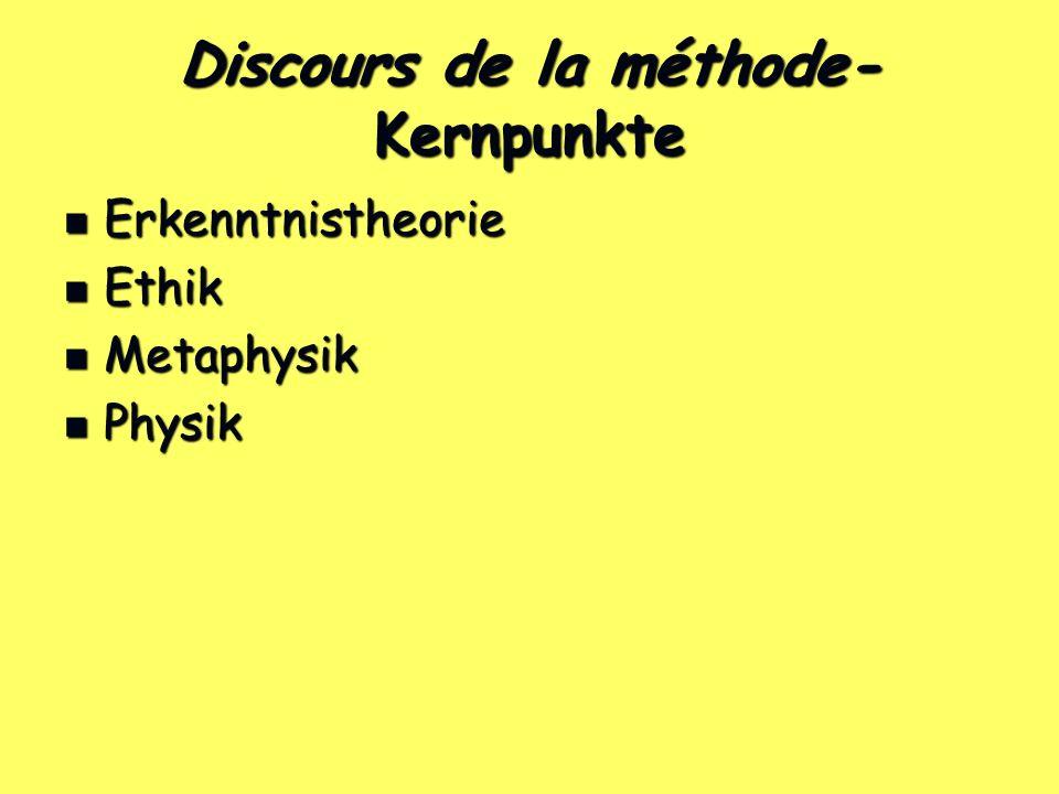 Discours de la méthode- Kernpunkte Erkenntnistheorie Erkenntnistheorie Ethik Ethik Metaphysik Metaphysik Physik Physik