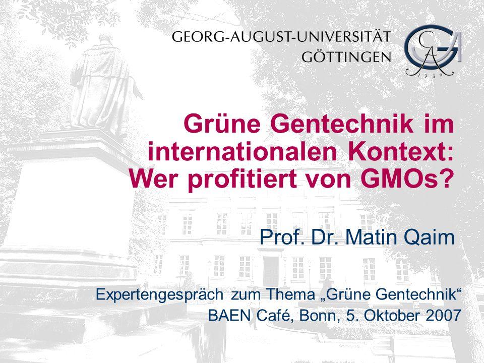 Grüne Gentechnik im internationalen Kontext: Wer profitiert von GMOs.