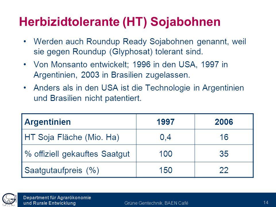 Department für Agrarökonomie und Rurale Entwicklung Grüne Gentechnik, BAEN Café 14 Herbizidtolerante (HT) Sojabohnen Werden auch Roundup Ready Sojabohnen genannt, weil sie gegen Roundup (Glyphosat) tolerant sind.