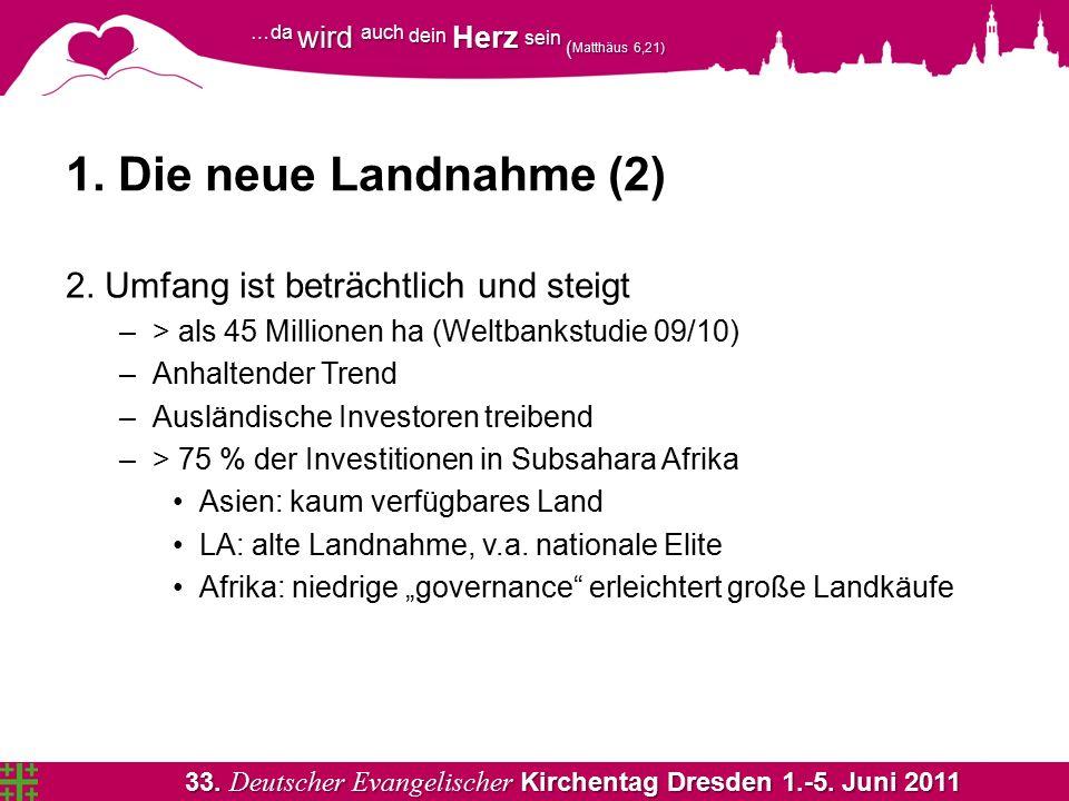 33. Deutscher Evangelischer Kirchentag Dresden 1.-5. Juni 2011 …da wird auch dein Herz sein ( Matthäus 6,21) 1. Die neue Landnahme (2) 2. Umfang ist b