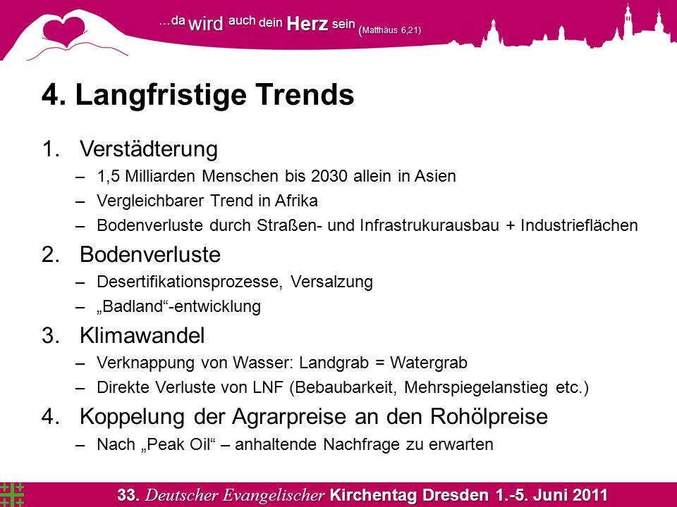 33. Deutscher Evangelischer Kirchentag Dresden 1.-5. Juni 2011 …da wird auch dein Herz sein ( Matthäus 6,21) 4. Langfristige Trends 1.Verstädterung –1