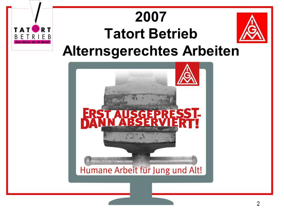 2 2007 Tatort Betrieb Alternsgerechtes Arbeiten