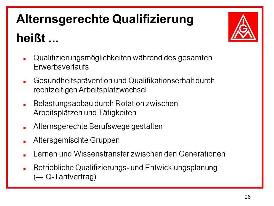 26 Qualifizierungsmöglichkeiten während des gesamten Erwerbsverlaufs Gesundheitsprävention und Qualifikationserhalt durch rechtzeitigen Arbeitsplatzwe