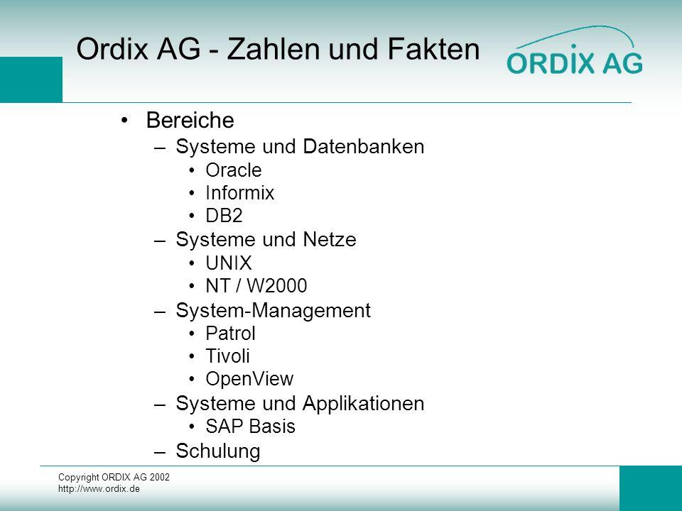 Copyright ORDIX AG 2002 http://www.ordix.de Ordix AG - Zahlen und Fakten Bereiche –Systeme und Datenbanken Oracle Informix DB2 –Systeme und Netze UNIX NT / W2000 –System-Management Patrol Tivoli OpenView –Systeme und Applikationen SAP Basis –Schulung