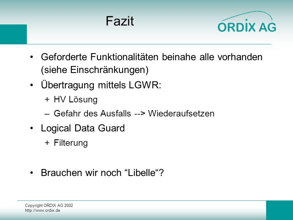 Copyright ORDIX AG 2002 http://www.ordix.de Fazit Geforderte Funktionalitäten beinahe alle vorhanden (siehe Einschränkungen) Übertragung mittels LGWR: