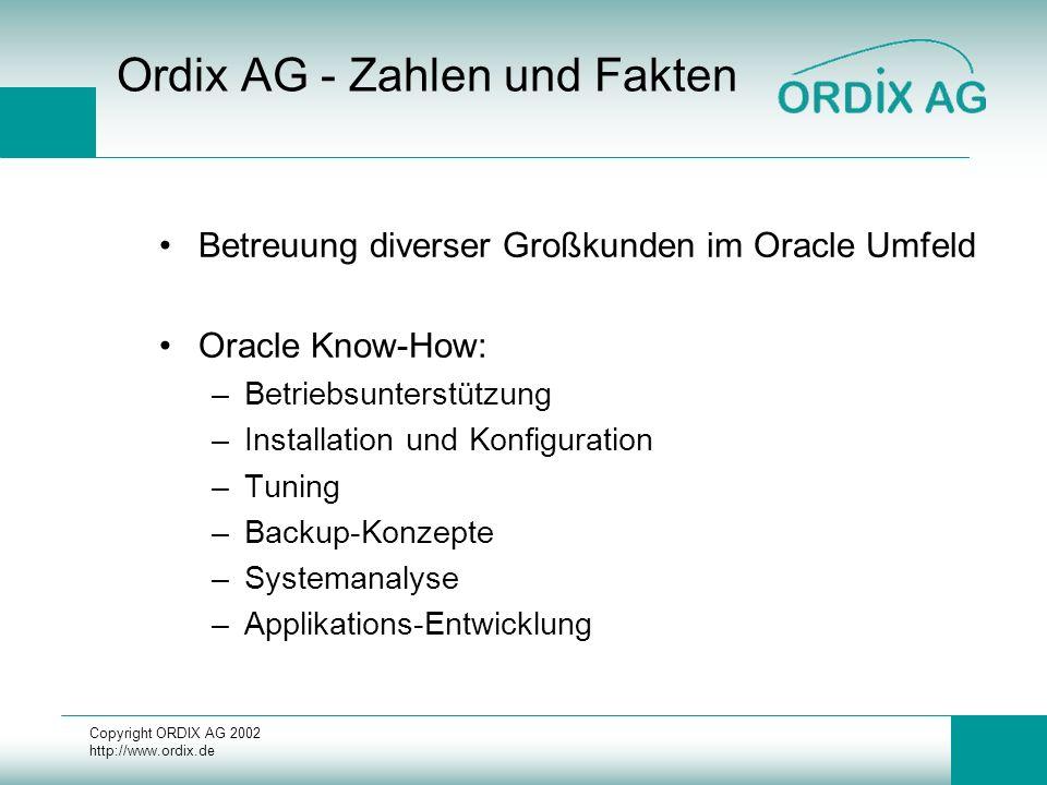 Copyright ORDIX AG 2002 http://www.ordix.de Ordix AG - Zahlen und Fakten Betreuung diverser Großkunden im Oracle Umfeld Oracle Know-How: –Betriebsunte