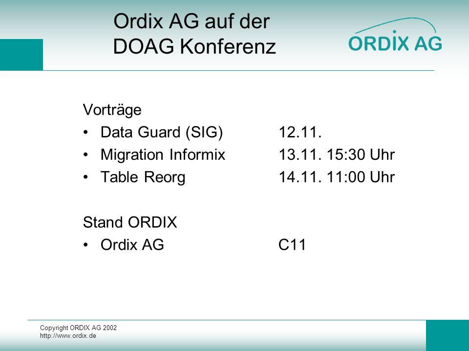 Copyright ORDIX AG 2002 http://www.ordix.de Fazit Geforderte Funktionalitäten beinahe alle vorhanden (siehe Einschränkungen) Übertragung mittels LGWR: +HV Lösung –Gefahr des Ausfalls --> Wiederaufsetzen Logical Data Guard +Filterung Brauchen wir noch Libelle ?