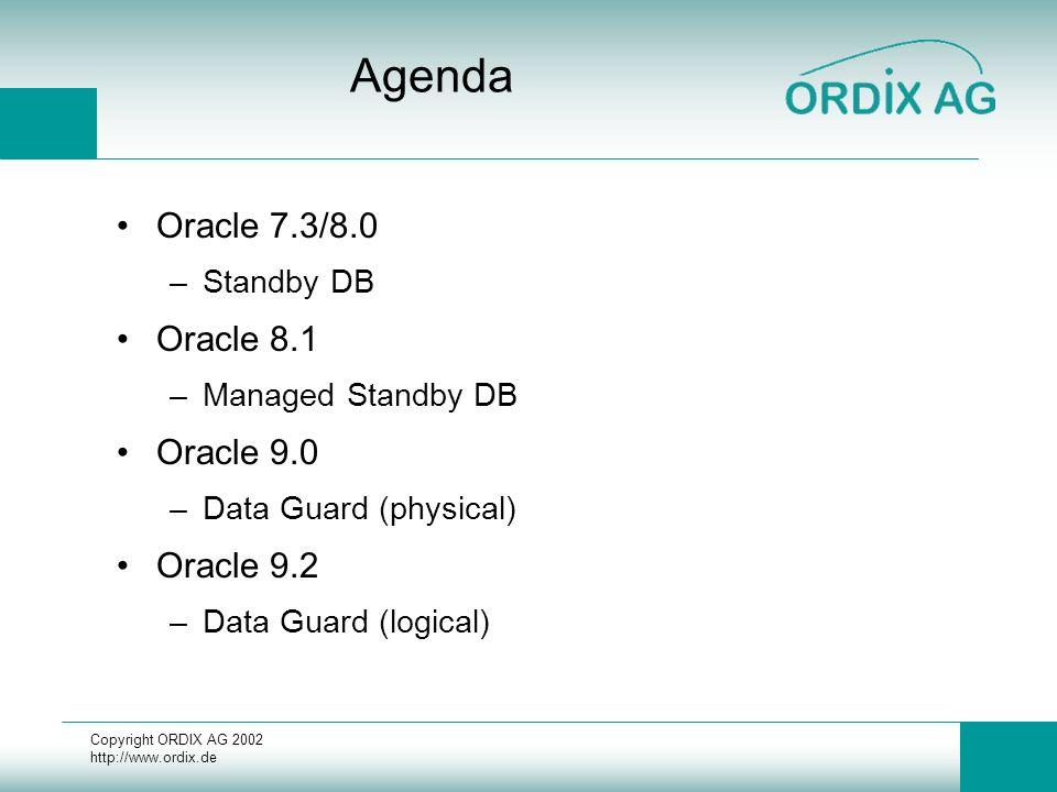Copyright ORDIX AG 2002 http://www.ordix.de Bewertung 8.1 +Offline und Online Backup +Delay über zusätzliches Perl-Skript (siehe Doku) +Desaster-Lösung bei Zerstörung der Produktions-DB +Reporting (Read-Only Öffnen der Datenbank) -physische Änderungen (neue Datafiles) alter database create datafile ´...´ as ´...´; Refresh der Standby Controlfile -Reporting und Recovery nicht parallel möglich -Switch Over -Manuelles Aufsetzen nach Unterbrechung der Übertragungskette (siehe 7.3 / 8.0)