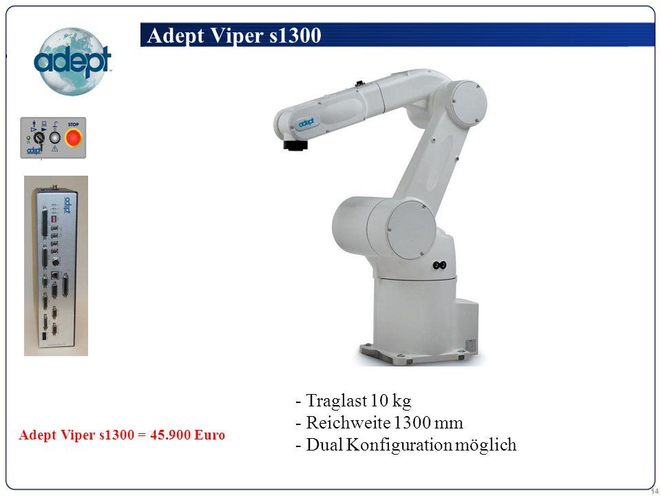 14 - Traglast 10 kg Traglast 10 kg - Reichweite 1300 mm Reichweite 1300 mm - Dual Konfiguration möglich Dual Konfiguration möglich Adept Viper s1300 Adept Viper s1300 = 45.900 Euro