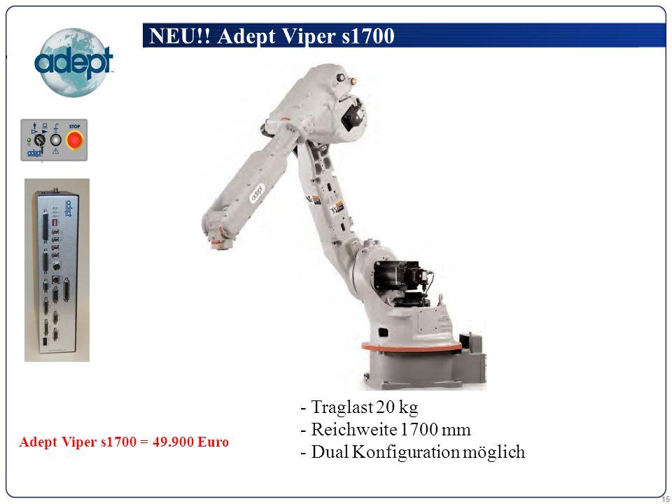 15 - Traglast 20 kg Traglast 20 kg - Reichweite 1700 mm Reichweite 1700 mm - Dual Konfiguration möglich Dual Konfiguration möglich NEU!! Adept Viper s