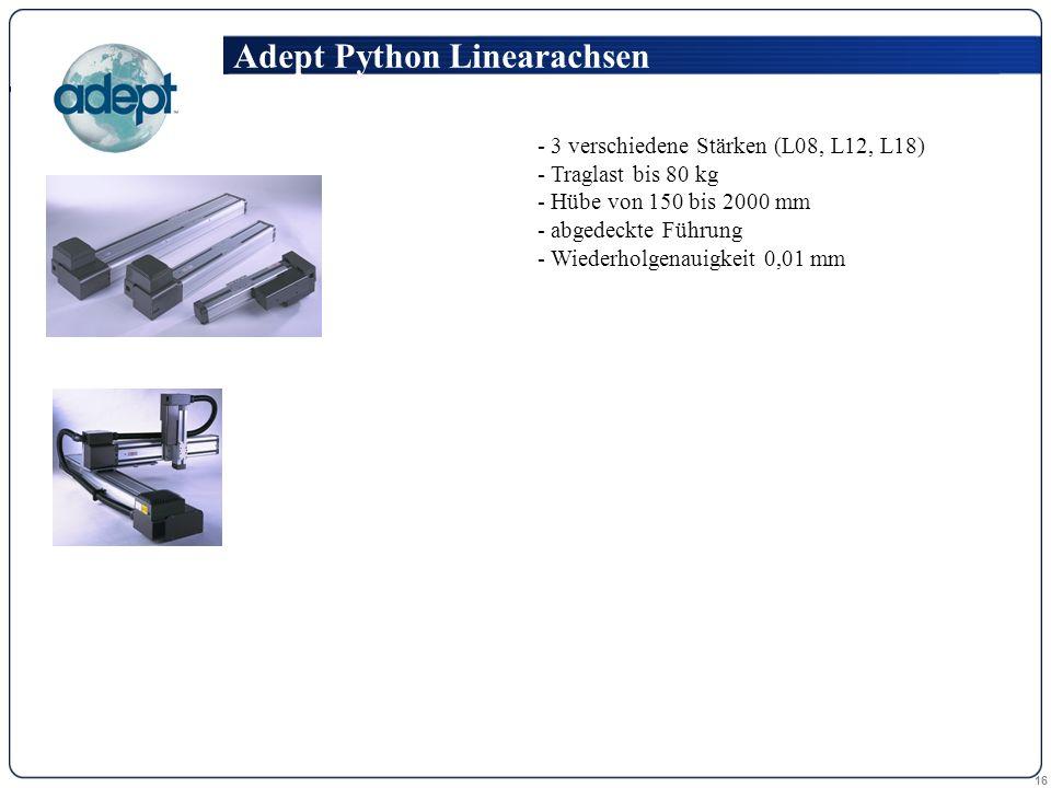 16 - 3 verschiedene Stärken (L08, L12, L18) - Traglast bis 80 kg - Hübe von 150 bis 2000 mm - abgedeckte Führung - Wiederholgenauigkeit 0,01 mm Adept Python Linearachsen