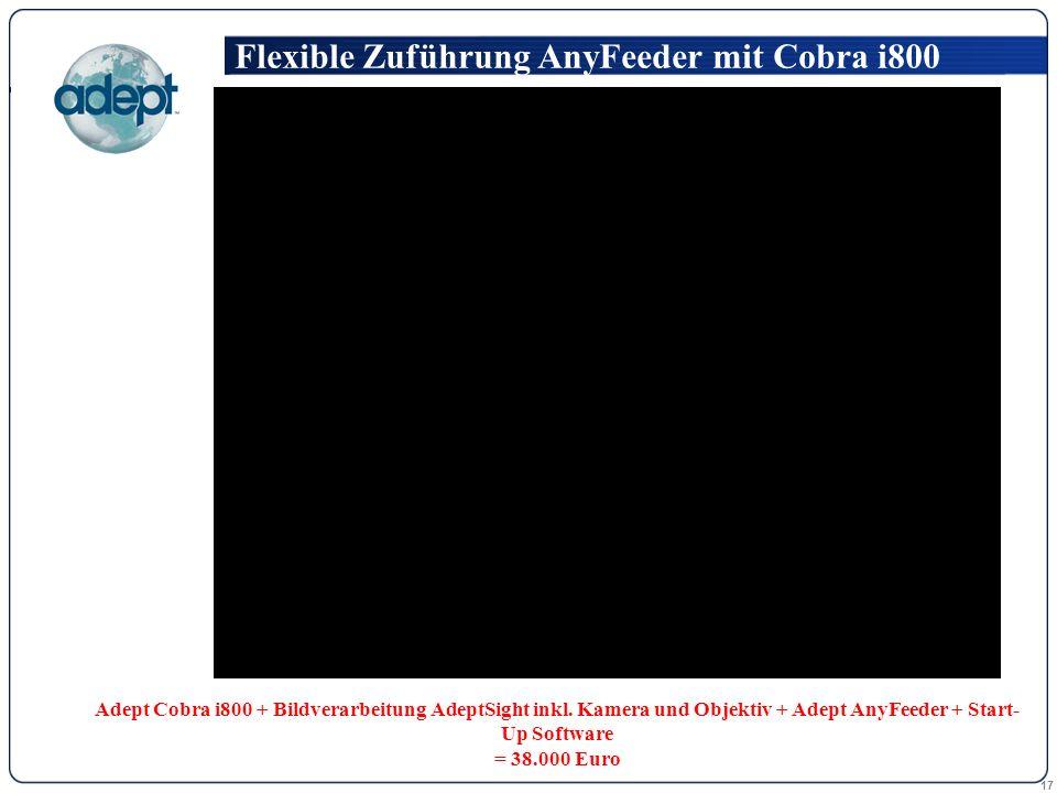 17 Flexible Zuführung AnyFeeder mit Cobra i800 Adept Cobra i800 + Bildverarbeitung AdeptSight inkl.