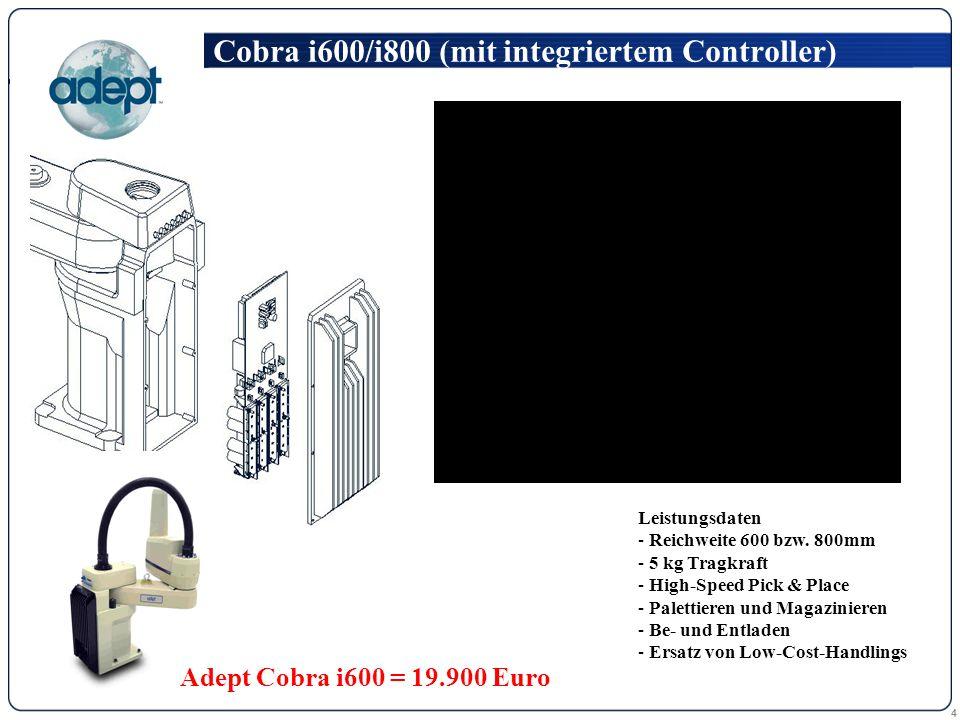 4 Cobra i600/i800 (mit integriertem Controller) Leistungsdaten - Reichweite 600 bzw. 800mm - 5 kg Tragkraft - High-Speed Pick & Place - Palettieren un