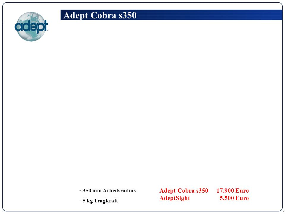 7 Adept Cobra s350 - 350 mm Arbeitsradius - 5 kg Tragkraft Adept Cobra s35017.900 Euro AdeptSight 5.500 Euro