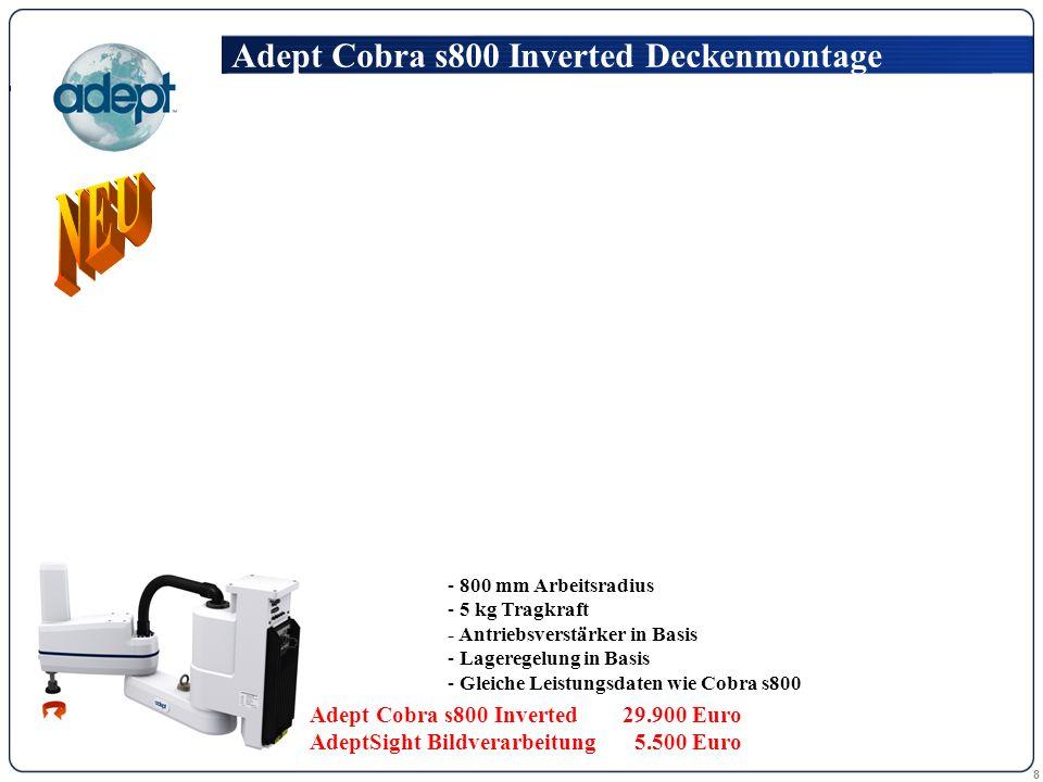 8 - 800 mm Arbeitsradius - 5 kg Tragkraft - Antriebsverstärker in Basis - Lageregelung in Basis - Gleiche Leistungsdaten wie Cobra s800 Adept Cobra s800 Inverted Deckenmontage Adept Cobra s800 Inverted 29.900 Euro AdeptSight Bildverarbeitung 5.500 Euro