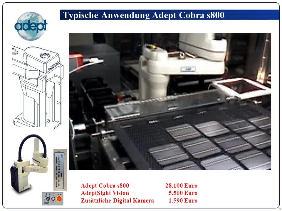 9 Typische Anwendung Adept Cobra s800 Adept Cobra s80028.100 Euro AdeptSight Vision 5.500 Euro Zusätzliche Digital Kamera 1.590 Euro