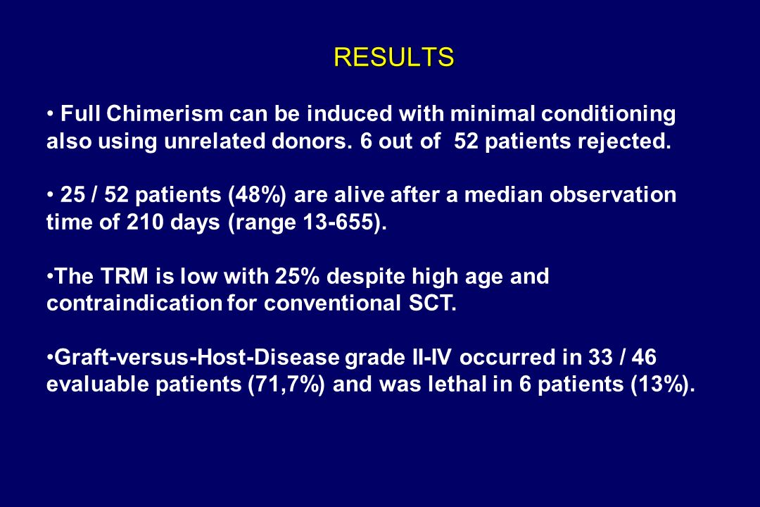 RESULTS Full Chimerism can be induced with minimal conditioning also using unrelated donors.