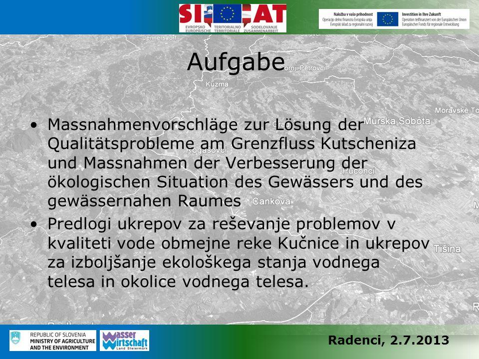Radenci, 2.7.2013 Massnahmenvorschläge zur Lösung der Qualitätsprobleme am Grenzfluss Kutscheniza und Massnahmen der Verbesserung der ökologischen Sit