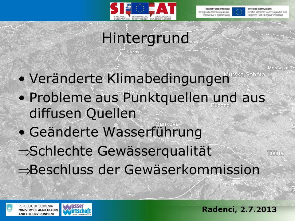 Radenci, 2.7.2013 Veränderte Klimabedingungen Probleme aus Punktquellen und aus diffusen Quellen Geänderte Wasserführung Schlechte Gewässerqualität 