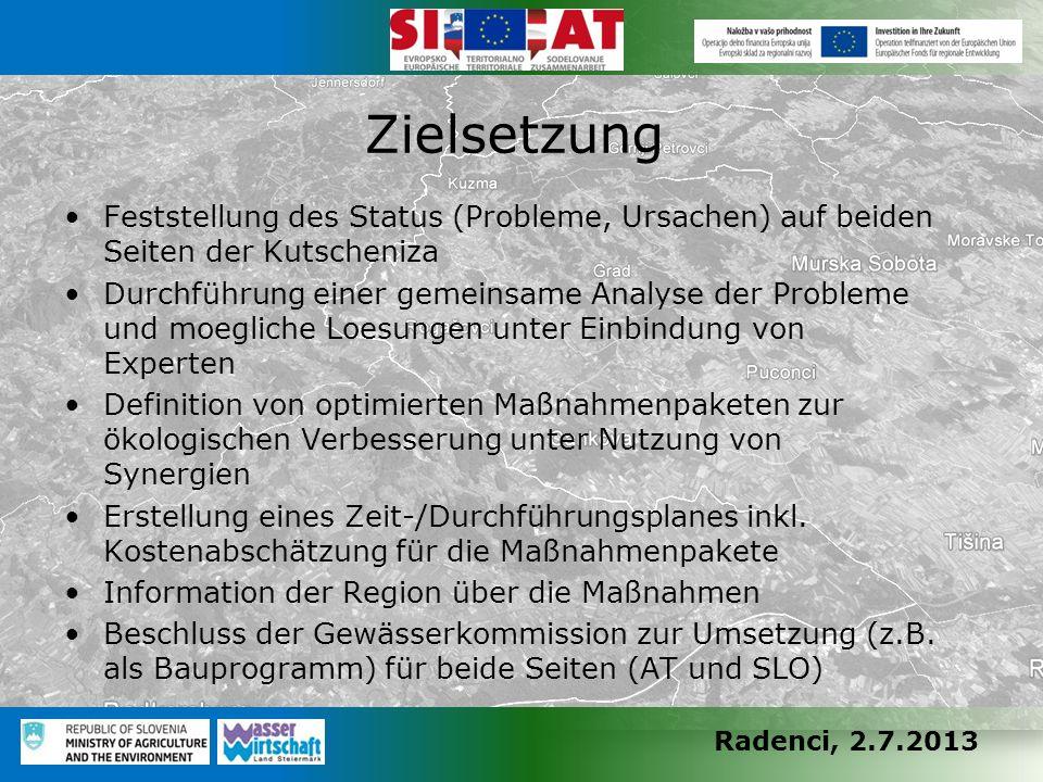 Radenci, 2.7.2013 Feststellung des Status (Probleme, Ursachen) auf beiden Seiten der Kutscheniza Durchführung einer gemeinsame Analyse der Probleme un