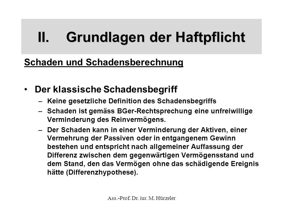 Ass.-Prof. Dr. iur. M. Hürzeler II.Grundlagen der Haftpflicht Schaden und Schadensberechnung Der klassische Schadensbegriff –Keine gesetzliche Definit