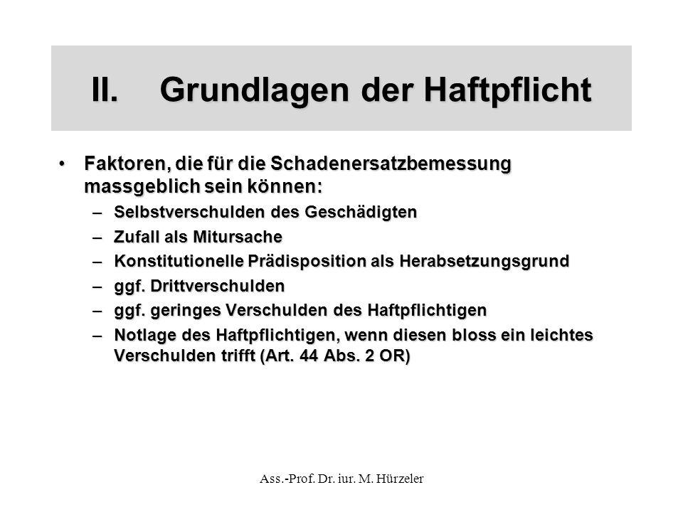Ass.-Prof. Dr. iur. M. Hürzeler II.Grundlagen der Haftpflicht Faktoren, die für die Schadenersatzbemessung massgeblich sein können:Faktoren, die für d