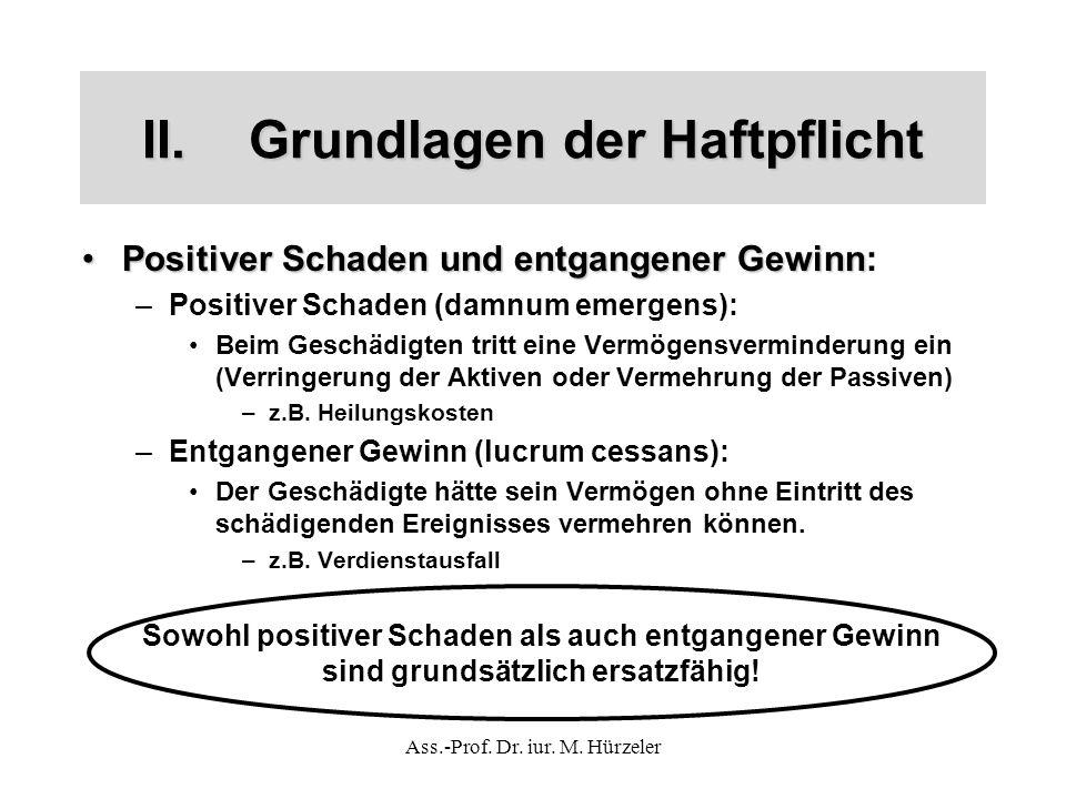 Ass.-Prof. Dr. iur. M. Hürzeler II.Grundlagen der Haftpflicht Positiver Schaden und entgangener GewinnPositiver Schaden und entgangener Gewinn: –Posit