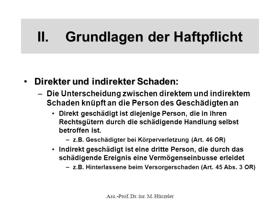 Ass.-Prof. Dr. iur. M. Hürzeler II.Grundlagen der Haftpflicht Direkter und indirekter Schaden:Direkter und indirekter Schaden: –Die Unterscheidung zwi