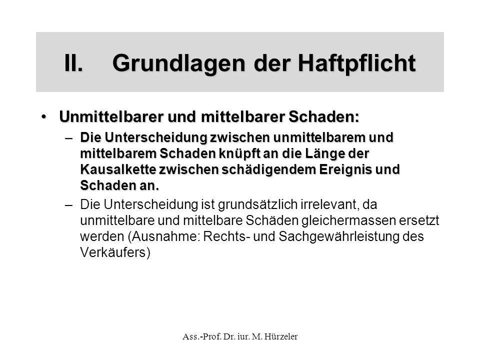 Ass.-Prof. Dr. iur. M. Hürzeler II.Grundlagen der Haftpflicht Unmittelbarer und mittelbarer Schaden:Unmittelbarer und mittelbarer Schaden: –Die Unters