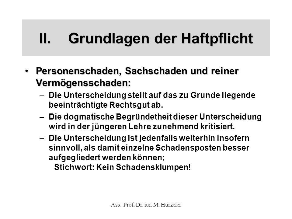 Ass.-Prof. Dr. iur. M. Hürzeler II.Grundlagen der Haftpflicht Personenschaden, Sachschaden und reiner Vermögensschaden:Personenschaden, Sachschaden un