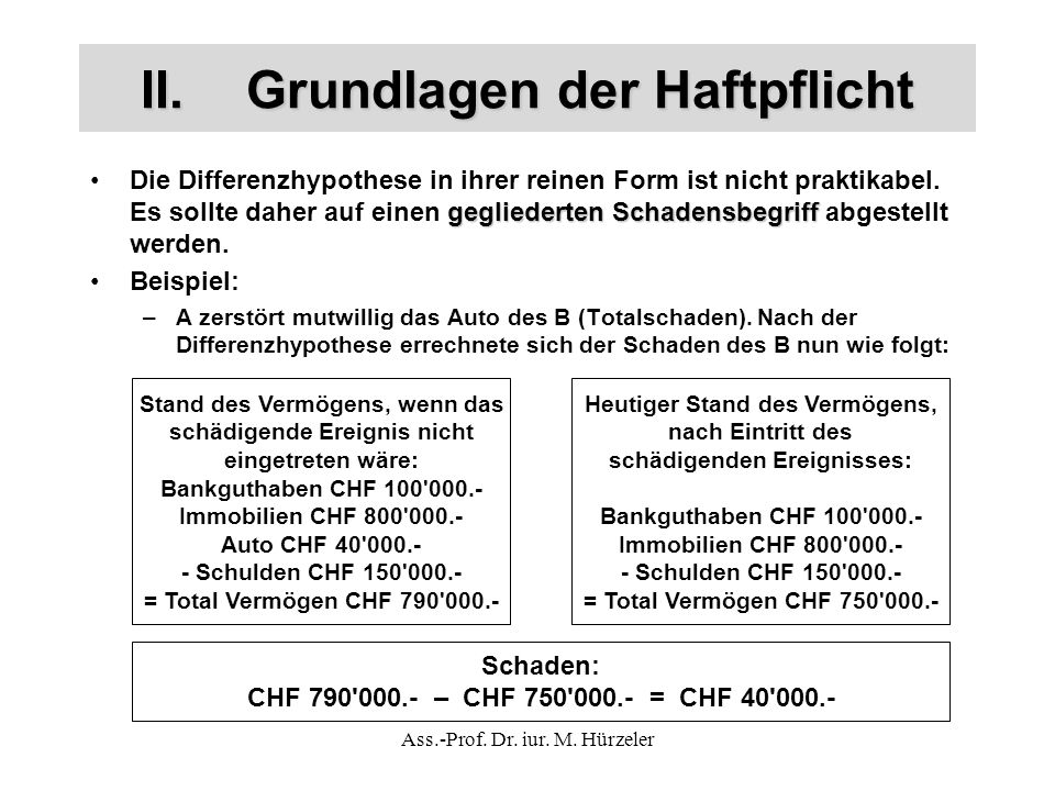 Ass.-Prof. Dr. iur. M. Hürzeler II.Grundlagen der Haftpflicht gegliederten SchadensbegriffDie Differenzhypothese in ihrer reinen Form ist nicht prakti
