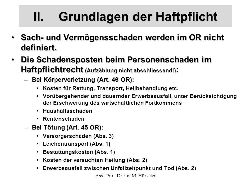 Ass.-Prof. Dr. iur. M. Hürzeler II.Grundlagen der Haftpflicht Sach- und Vermögensschaden werden im OR nicht definiert.Sach- und Vermögensschaden werde