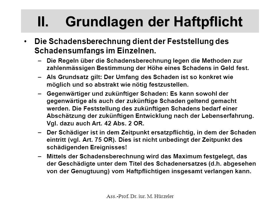 Ass.-Prof. Dr. iur. M. Hürzeler II.Grundlagen der Haftpflicht Die Schadensberechnung dient der Feststellung des Schadensumfangs im Einzelnen. –Die Reg