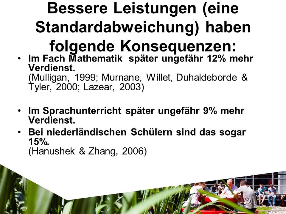 Im Fach Mathematik später ungefähr 12% mehr Verdienst. (Mulligan, 1999; Murnane, Willet, Duhaldeborde & Tyler, 2000; Lazear, 2003) Im Sprachunterricht