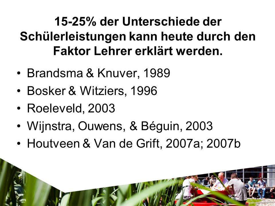 15-25% der Unterschiede der Schülerleistungen kann heute durch den Faktor Lehrer erklärt werden. Brandsma & Knuver, 1989 Bosker & Witziers, 1996 Roele