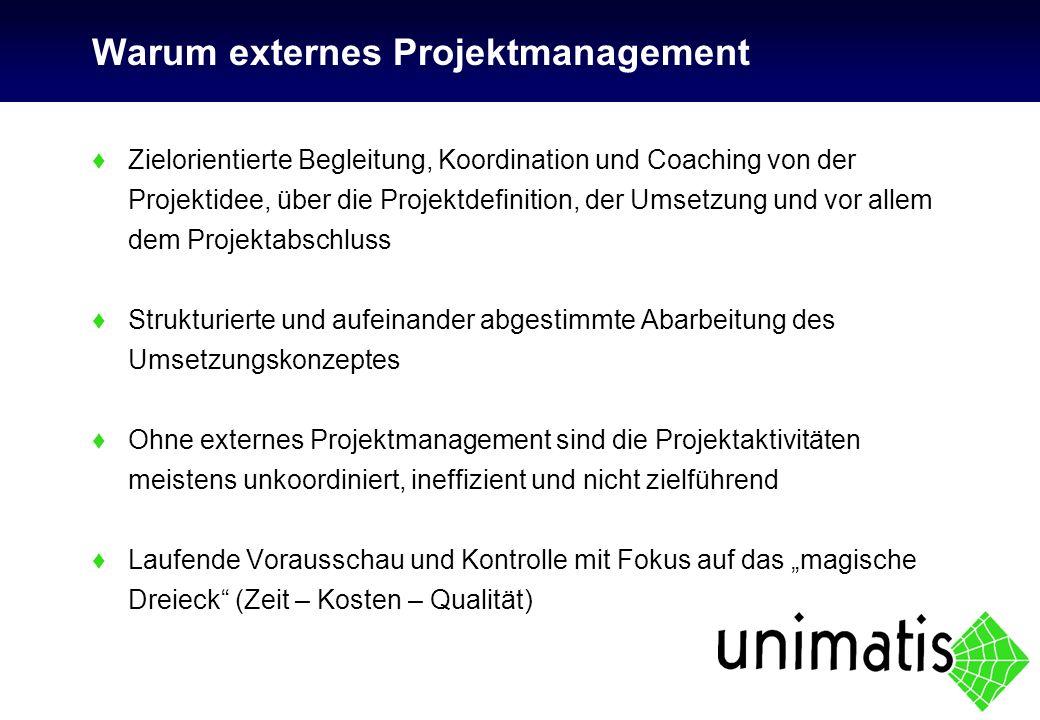 Warum externes Projektmanagement ♦Zielorientierte Begleitung, Koordination und Coaching von der Projektidee, über die Projektdefinition, der Umsetzung