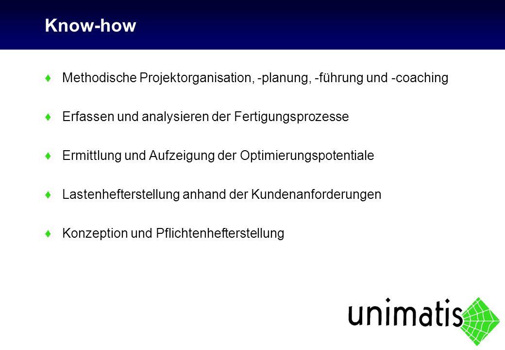 ♦Methodische Projektorganisation, -planung, -führung und -coaching ♦Erfassen und analysieren der Fertigungsprozesse ♦Ermittlung und Aufzeigung der Opt