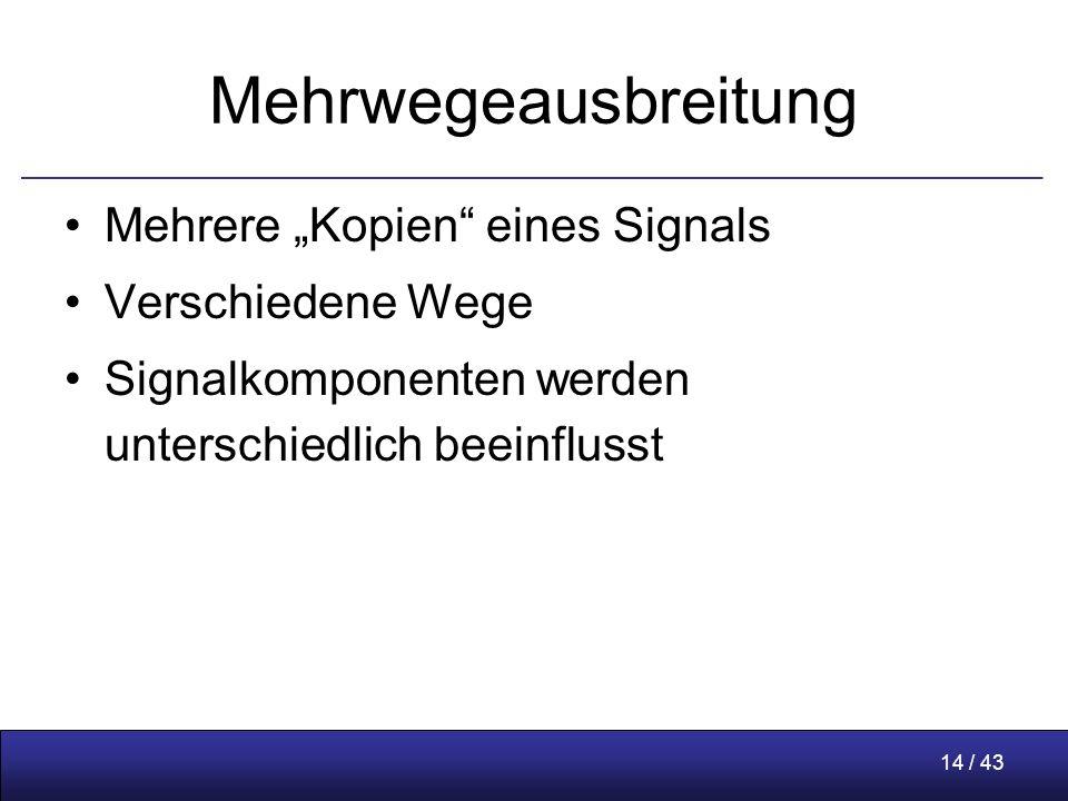 """14 / 43 Mehrwegeausbreitung Mehrere """"Kopien eines Signals Verschiedene Wege Signalkomponenten werden unterschiedlich beeinflusst"""